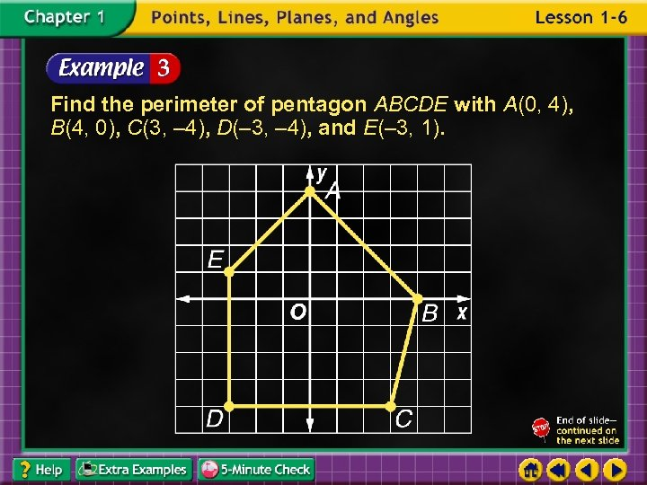 Find the perimeter of pentagon ABCDE with A(0, 4), B(4, 0), C(3, – 4),