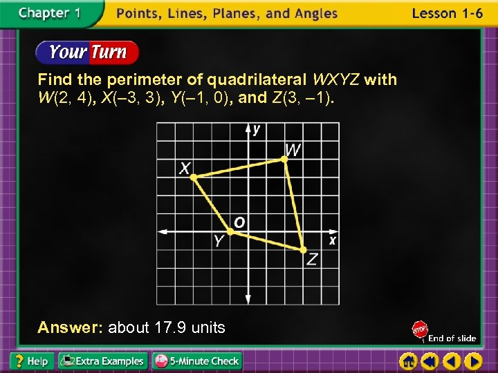 Find the perimeter of quadrilateral WXYZ with W(2, 4), X(– 3, 3), Y(– 1,
