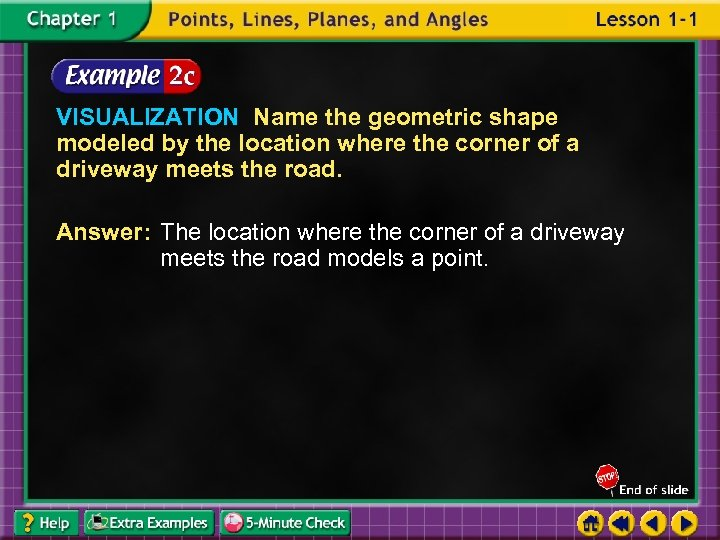VISUALIZATION Name the geometric shape modeled by the location where the corner of a
