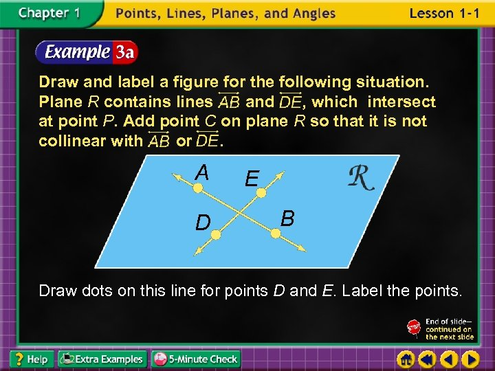 Draw and label a figure for the following situation. Plane R contains lines and