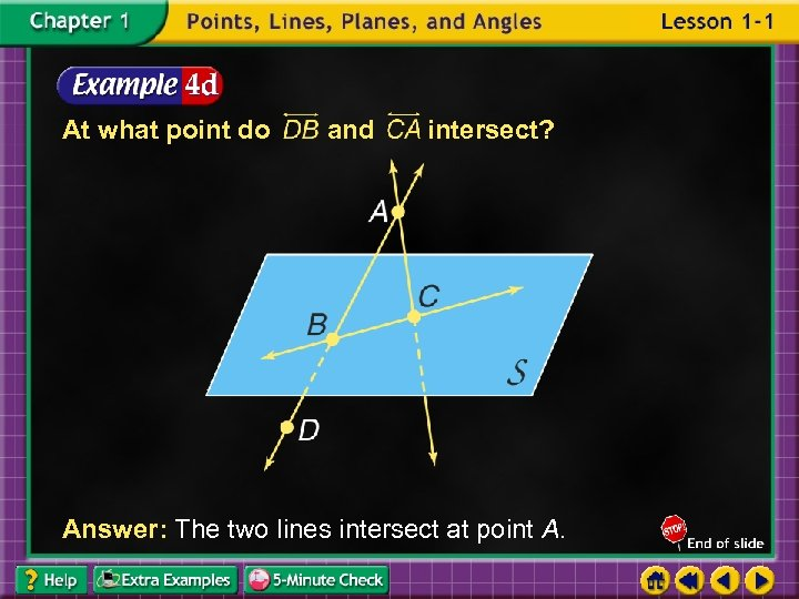 At what point do and intersect? Answer: The two lines intersect at point A.