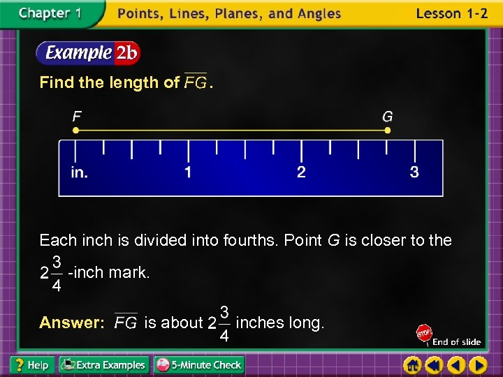 Find the length of . Each inch is divided into fourths. Point G is