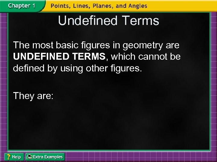 Undefined Terms The most basic figures in geometry are UNDEFINED TERMS, which cannot be