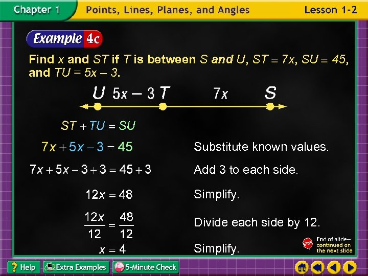 Find x and ST if T is between S and U, ST and TU