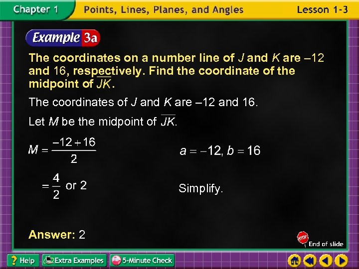 The coordinates on a number line of J and K are – 12 and
