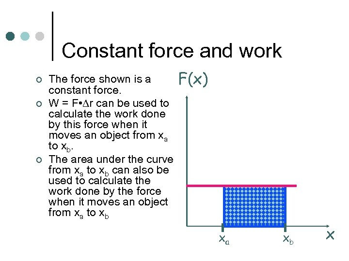 Constant force and work ¢ ¢ ¢ The force shown is a constant force.