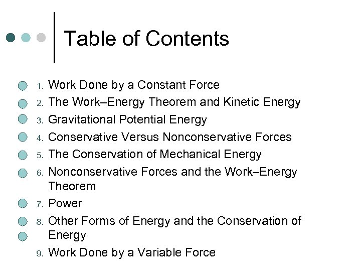 Table of Contents 1. 2. 3. 4. 5. 6. 7. 8. 9. Work Done