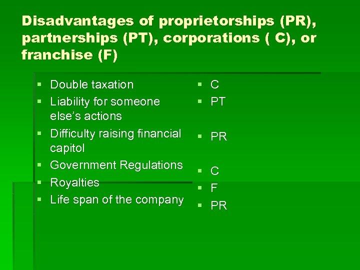 Disadvantages of proprietorships (PR), partnerships (PT), corporations ( C), or franchise (F) § Double