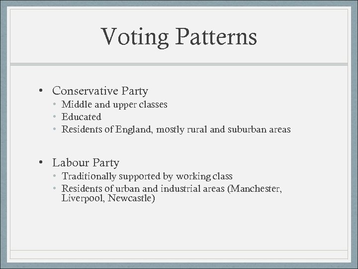 Voting Patterns • Conservative Party • Middle and upper classes • Educated • Residents