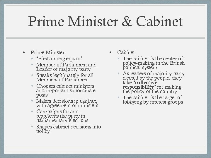 "Prime Minister & Cabinet • Prime Minister • ""First among equals"" • Member of"