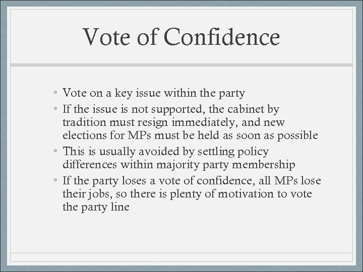 Vote of Confidence • Vote on a key issue within the party • If