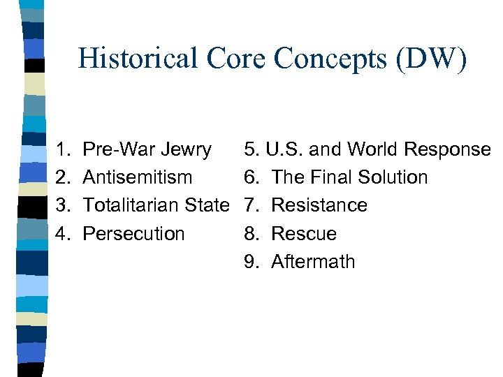Historical Core Concepts (DW) 1. 2. 3. 4. Pre-War Jewry Antisemitism Totalitarian State Persecution