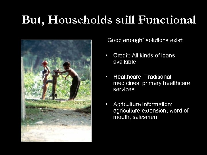 """But, Households still Functional """"Good enough"""" solutions exist: • Credit: All kinds of loans"""