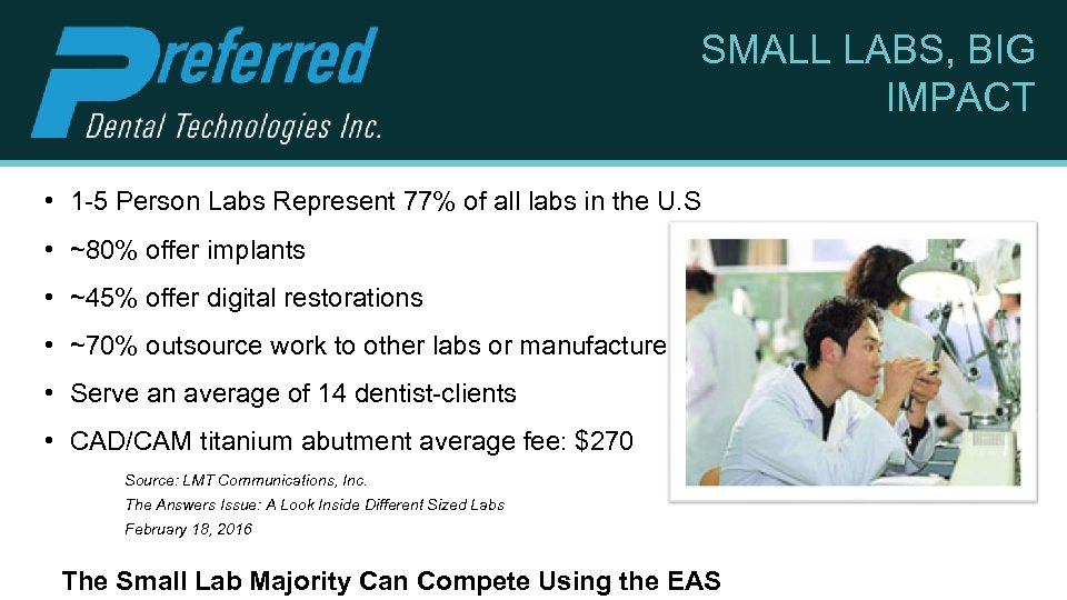 SMALL LABS, BIG IMPACT • 1 -5 Person Labs Represent 77% of all labs