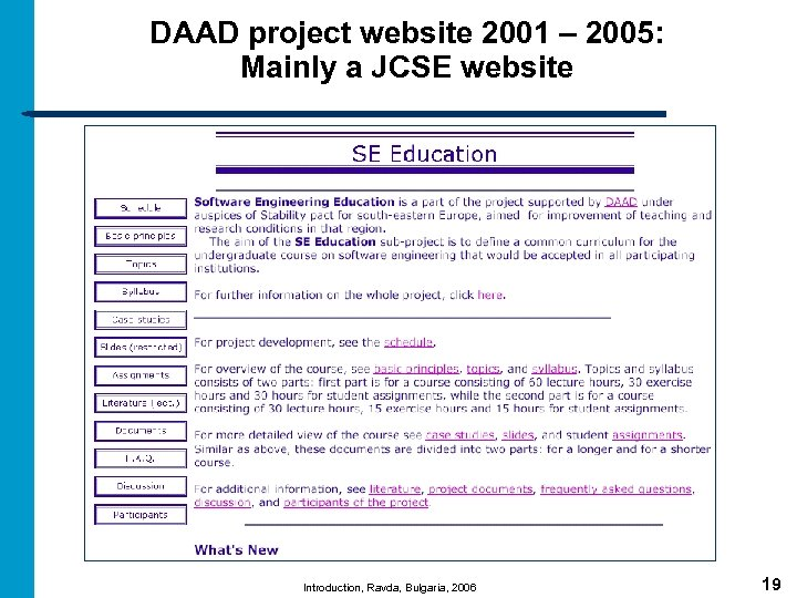 DAAD project website 2001 – 2005: Mainly a JCSE website Introduction, Ravda, Bulgaria, 2006