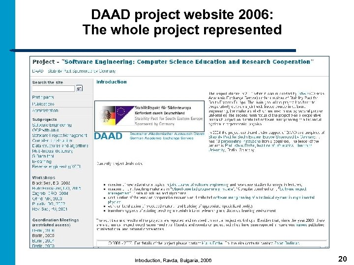 DAAD project website 2006: The whole project represented Introduction, Ravda, Bulgaria, 2006 20