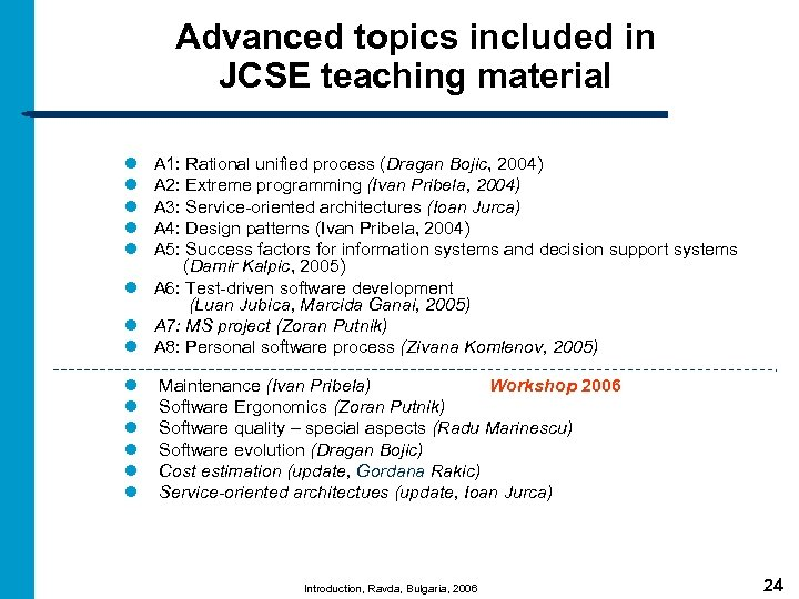 Advanced topics included in JCSE teaching material l l A 1: Rational unified process