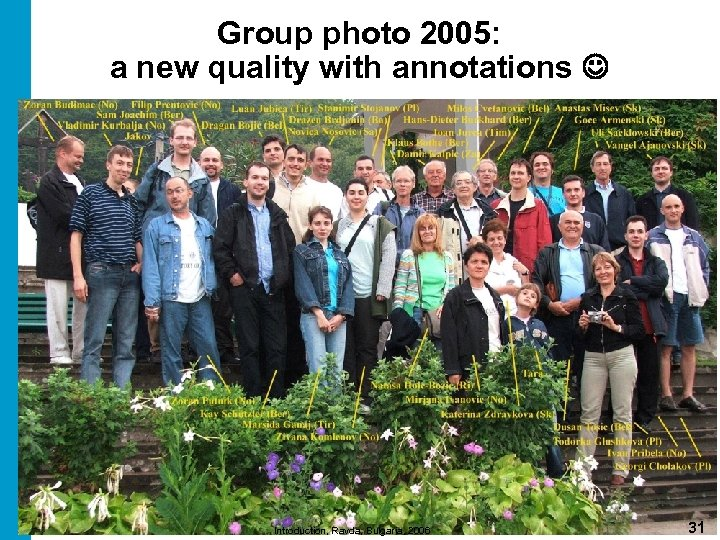 Group photo 2005: a new quality with annotations Introduction, Ravda, Bulgaria, 2006 31