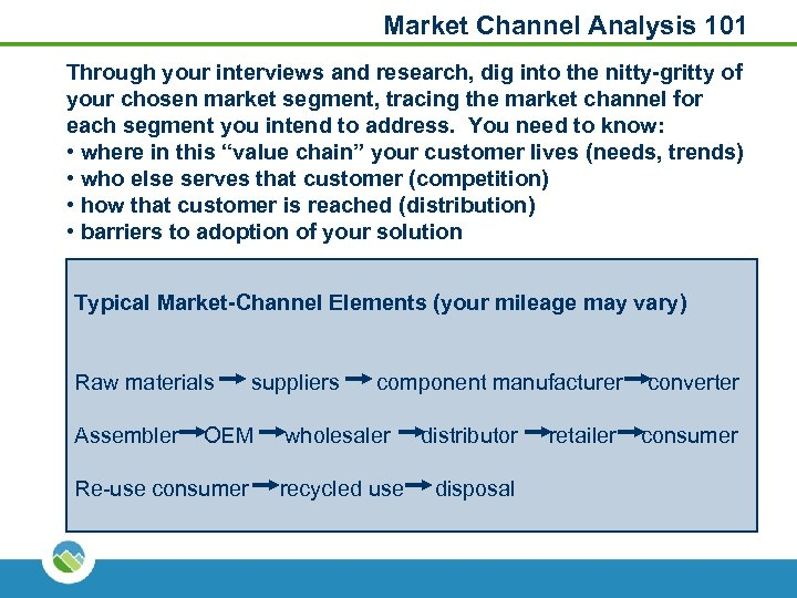 Market Channel Analysis 101 Through your interviews and research, dig into the nitty-gritty of