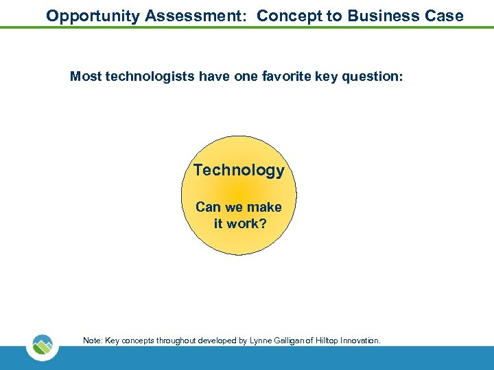 Opportunity Assessment: Concept to Business Case Most technologists have one favorite key question: Technology