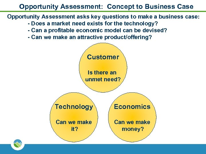 Opportunity Assessment: Concept to Business Case Opportunity Assessment asks key questions to make a