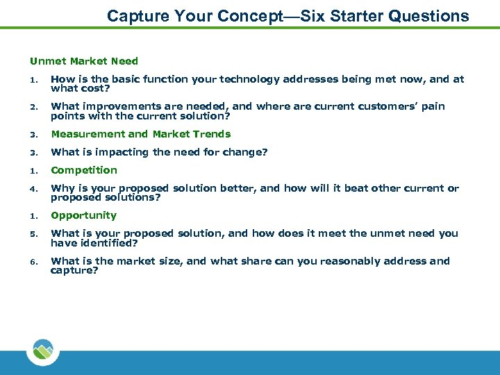 Capture Your Concept—Six Starter Questions Unmet Market Need 1. How is the basic function