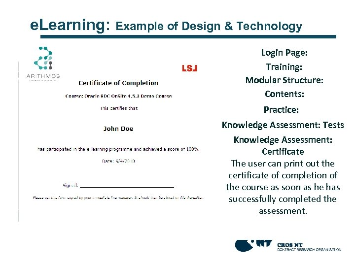 e. Learning: Example of Design & Technology Login Page: The access is only for
