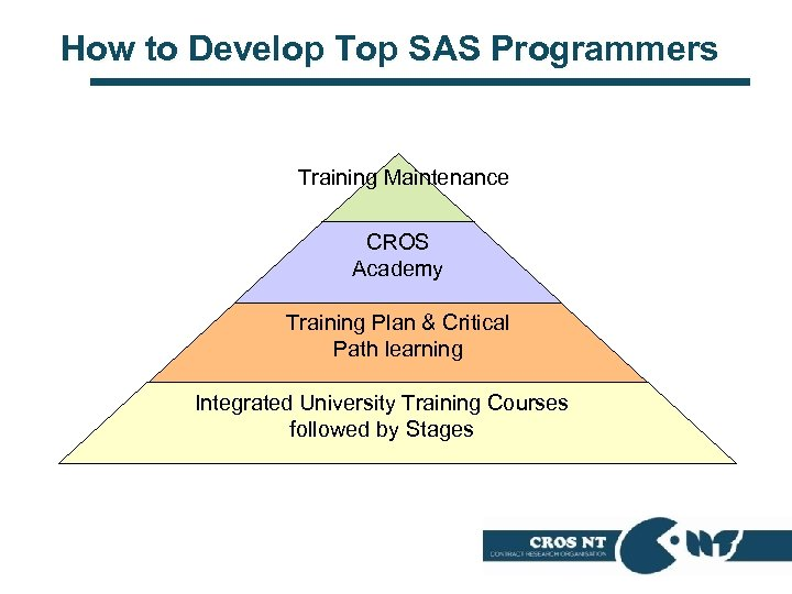 How to Develop Top SAS Programmers Training Maintenance CROS Academy Training Plan & Critical