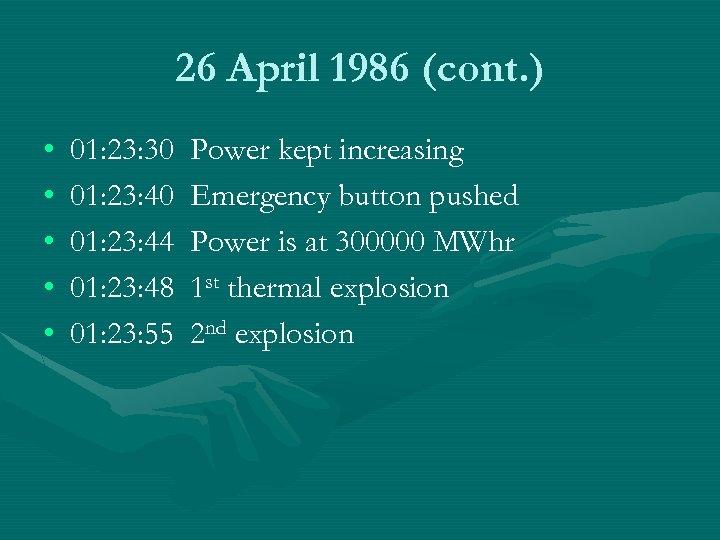 26 April 1986 (cont. ) • • • 01: 23: 30 01: 23: 44