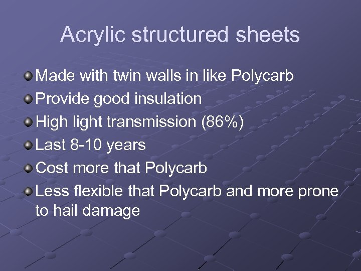Acrylic structured sheets Made with twin walls in like Polycarb Provide good insulation High
