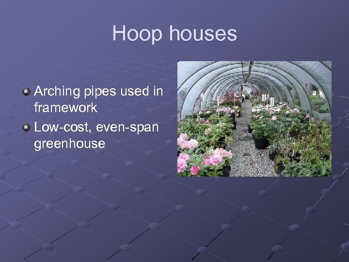 Hoop houses Arching pipes used in framework Low-cost, even-span greenhouse