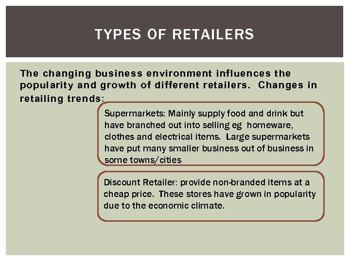 TYPES OF RETAILERS The changing business environment influences the popularity and growth of different