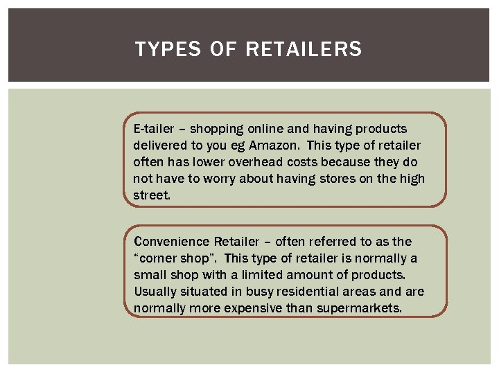 TYPES OF RETAILERS E-tailer – shopping online and having products delivered to you eg