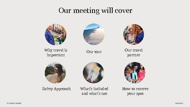 Our meeting will cover Why travel is important Our tour Safety Approach What's included