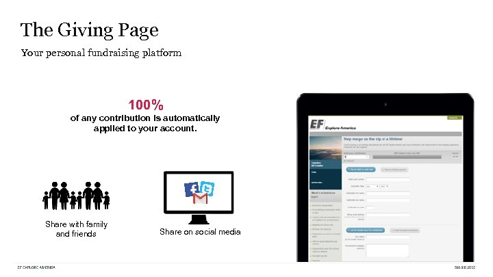 The Giving Page Your personal fundraising platform 100% of any contribution is automatically applied