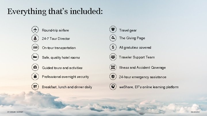 Everything that's included: Round-trip airfare Travel gear 24 -7 Tour Director The Giving Page