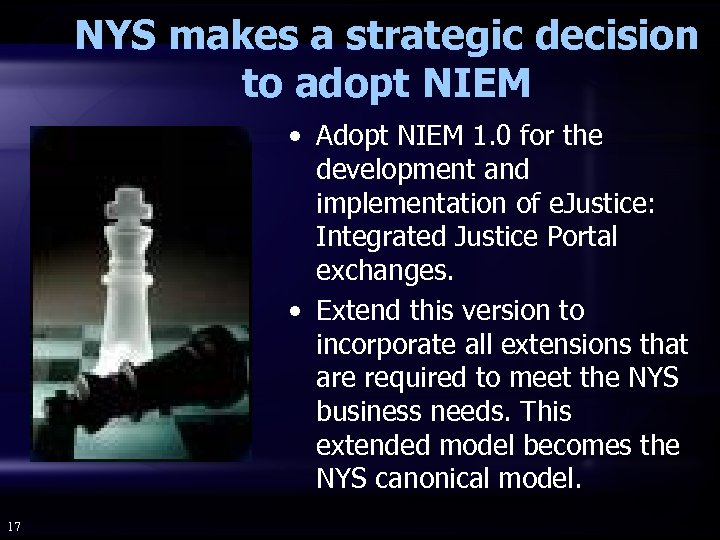 NYS makes a strategic decision to adopt NIEM • Adopt NIEM 1. 0 for