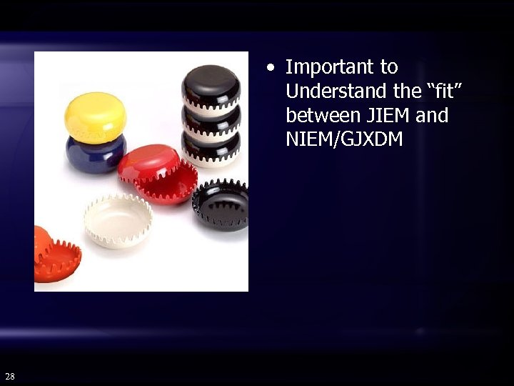 "• Important to Understand the ""fit"" between JIEM and NIEM/GJXDM 28"