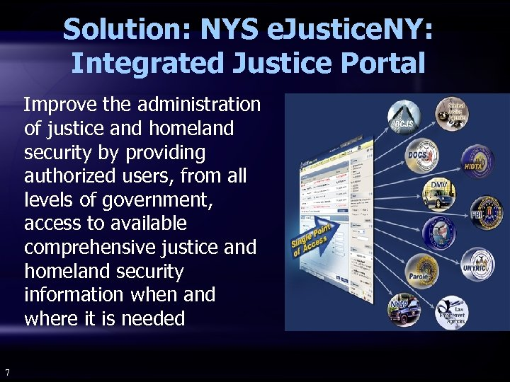 Solution: NYS e. Justice. NY: Integrated Justice Portal Improve the administration of justice and