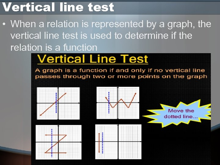 Vertical line test • When a relation is represented by a graph, the vertical
