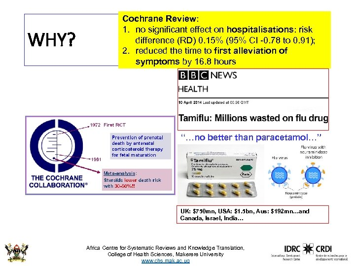 WHY? Cochrane Review: 1. no significant effect on hospitalisations: risk difference (RD) 0. 15%