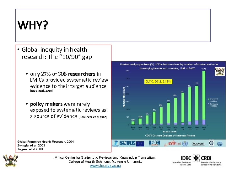 """WHY? • Global inequity in health research: The """" 10/90"""" gap • only 27%"""