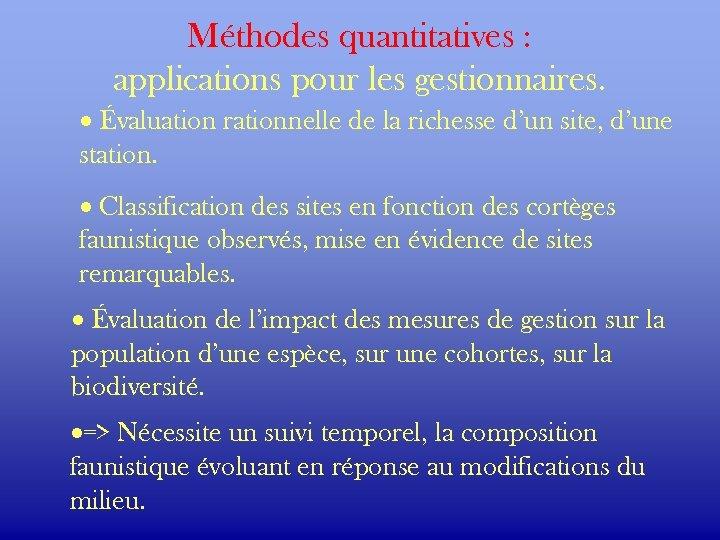 Méthodes quantitatives : applications pour les gestionnaires. · Évaluation rationnelle de la richesse d'un