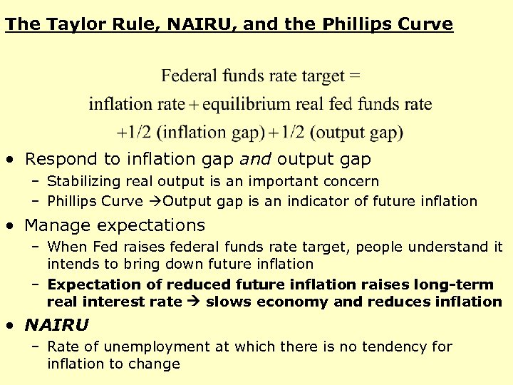 The Taylor Rule, NAIRU, and the Phillips Curve • Respond to inflation gap and