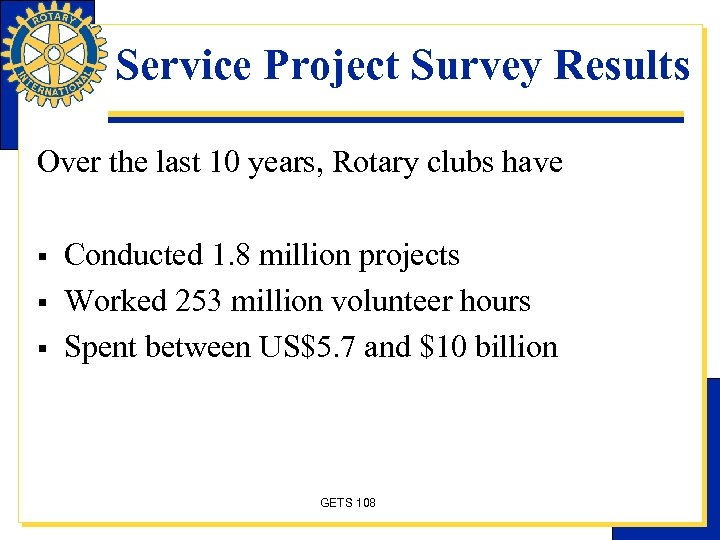 Service Project Survey Results Over the last 10 years, Rotary clubs have § §
