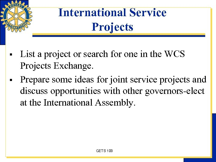 International Service Projects § § List a project or search for one in the