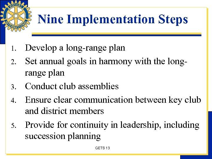 Nine Implementation Steps 1. 2. 3. 4. 5. Develop a long-range plan Set annual