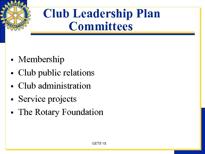 Club Leadership Plan Committees § § § Membership Club public relations Club administration Service