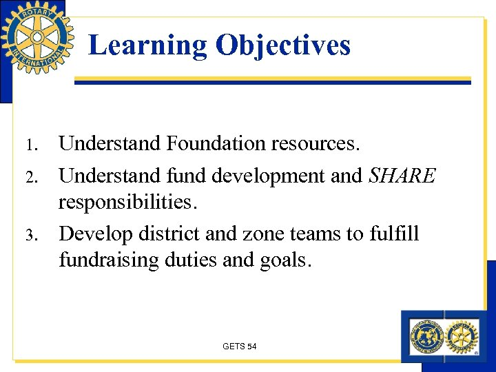 Learning Objectives 1. 2. 3. Understand Foundation resources. Understand fund development and SHARE responsibilities.