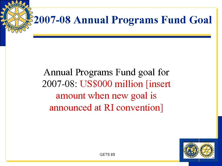 2007 -08 Annual Programs Fund Goal Annual Programs Fund goal for 2007 -08: US$000